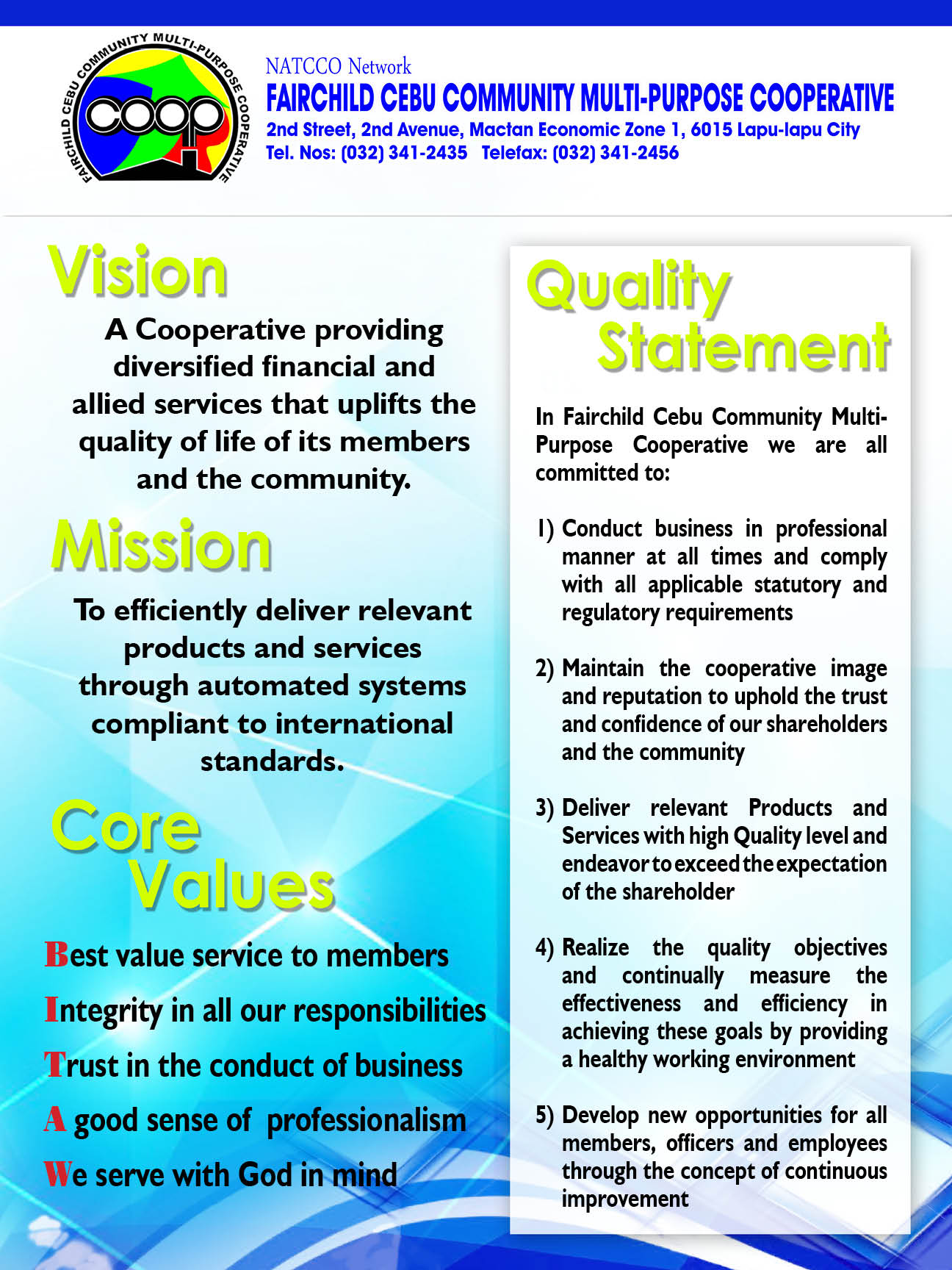 FCCMPC's Vision, Mission, Core Values & Policy Statement!
