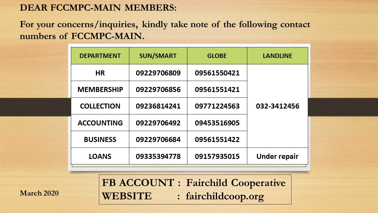 FCCMPC CONTACT INFORMATIONS