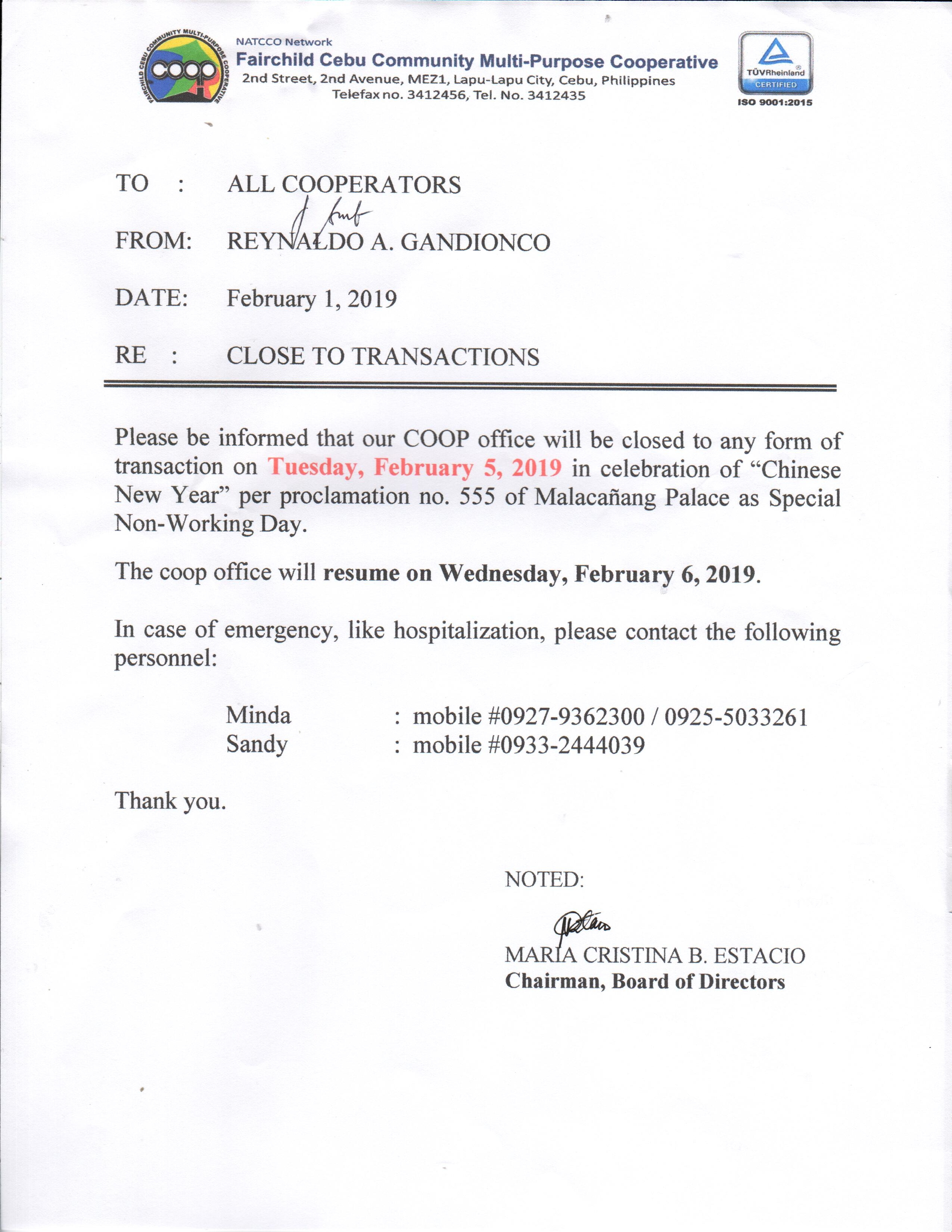 FEBRUARY 5, 2019 - NON WORKING HOLIDAY