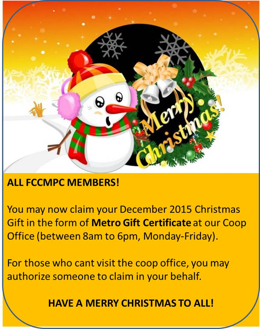 CHRISTMAS 2015 GIVE AWAYS FOR COOP MEMBERS