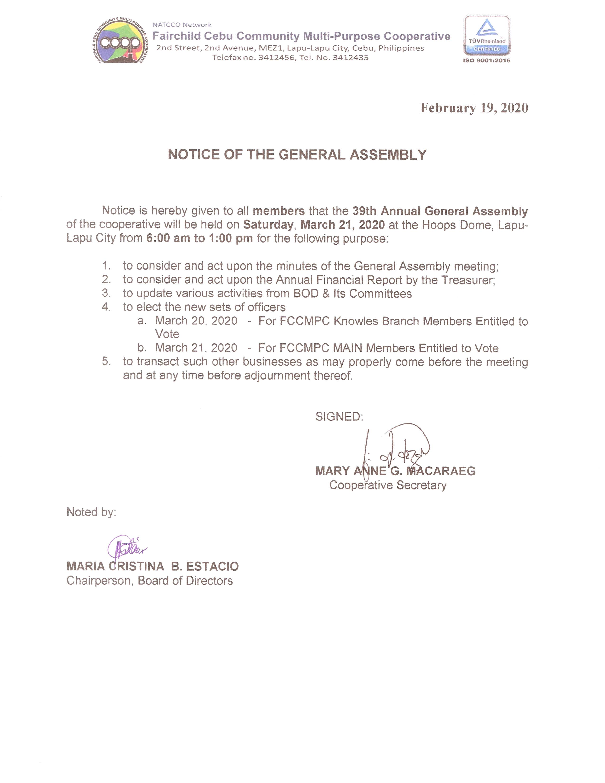 Notice of 39th Annual General Assembly