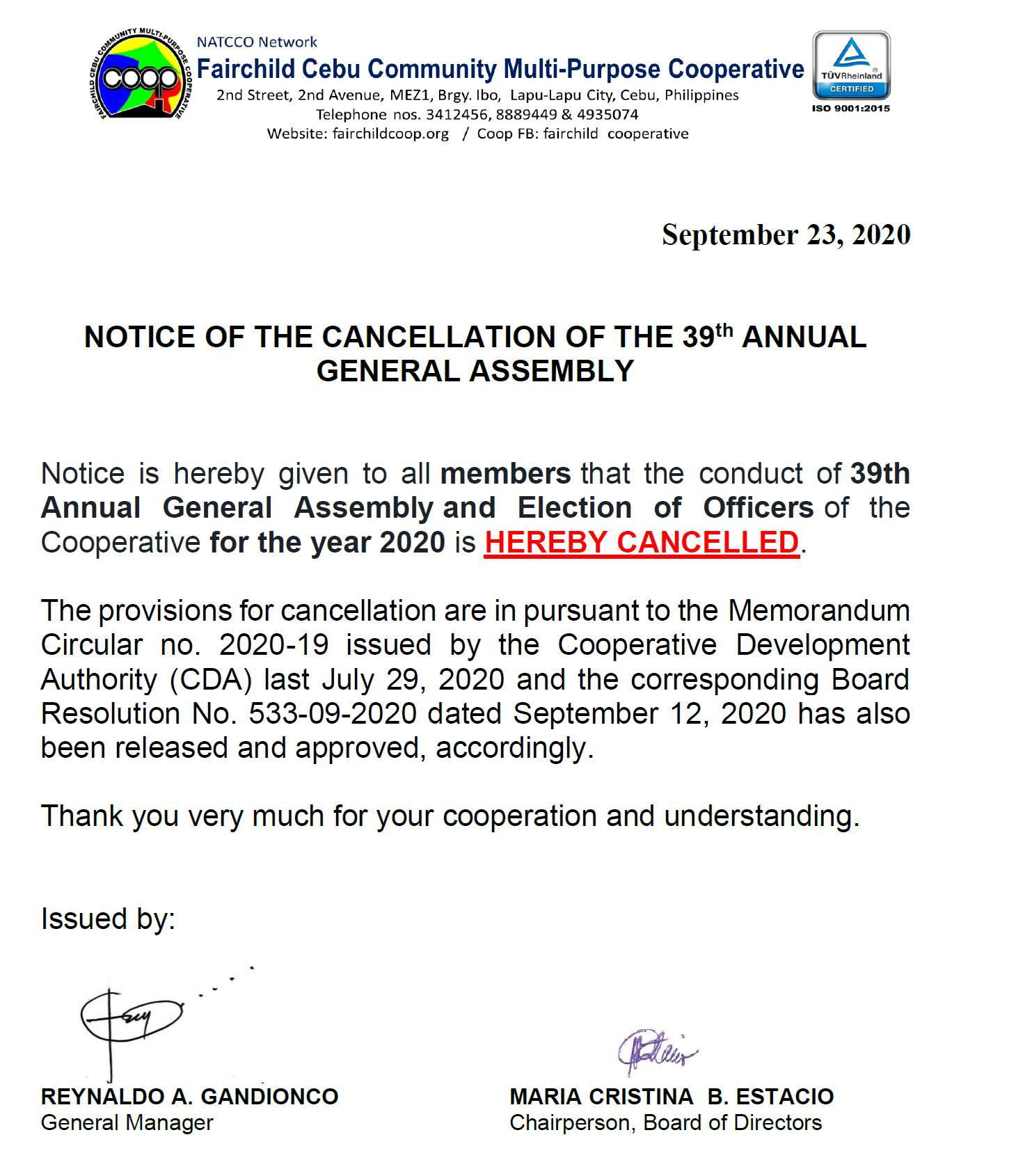 CANCELLATION OF GENERAL ASSEMBLY & ELECTION OF OFFICERS FOR YEAR 2020