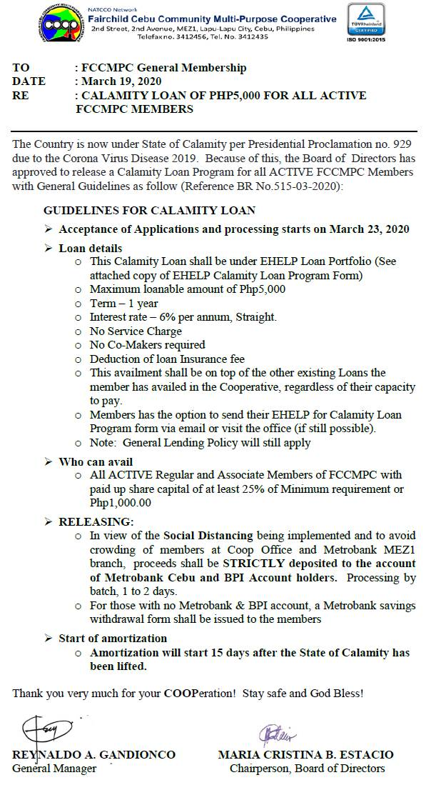 CALAMITY LOAN PROGRAM FOR ACTIVE MEMBERS OF FCCMPC