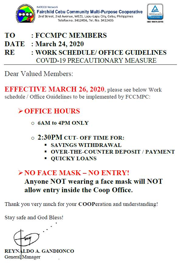 WORK SCHEDULE / OFFICE GUIDELINES EFFECTIVE MARCH 26, 2020