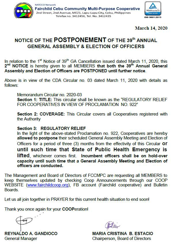 UPDATED NOTICE on GENERAL ASSEMBLY and ELECTION of OFFICERS!