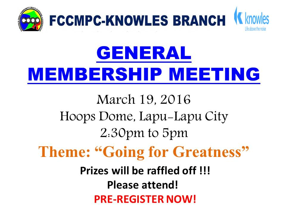 FCCMPC KNOWLES BRANCH - GENERAL MEMBERSHIP MEETING