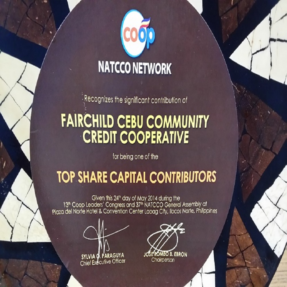 FAIRCHILD CEBU COMMUNITY CREDIT COOPERATIVE awarded for being one of the Top Share Capital Contributors