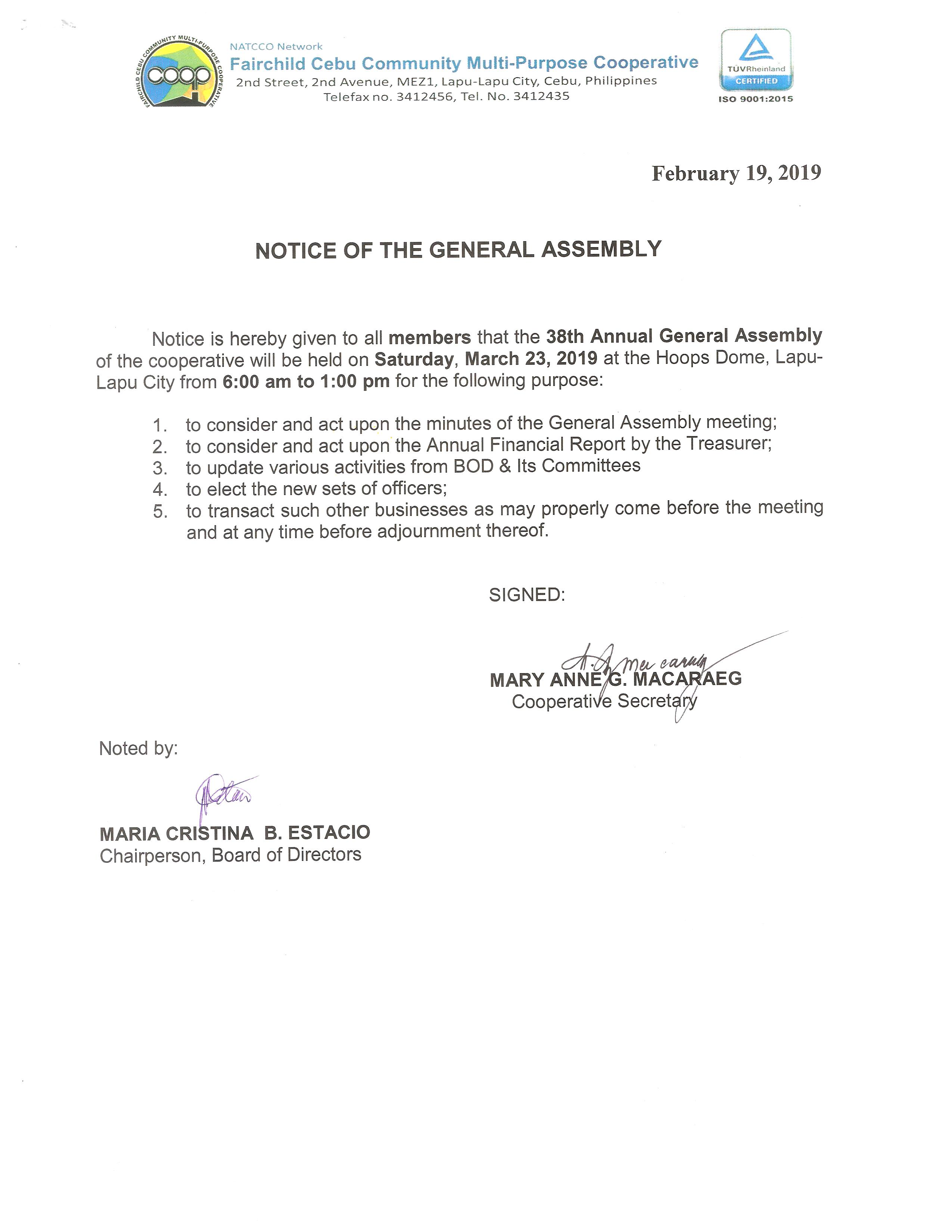 Notice of 38th Annual General Assembly