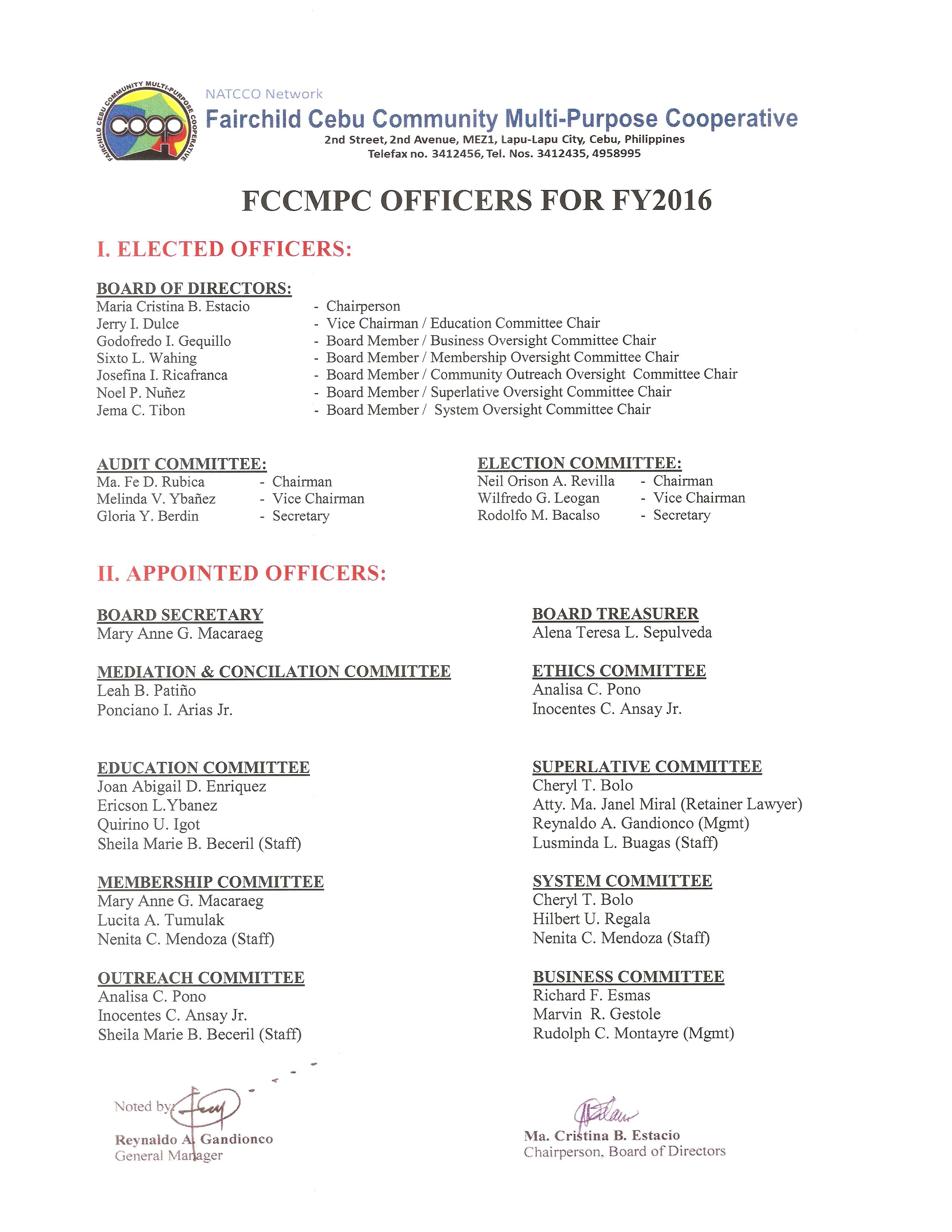 FCCMPC OFFICERS FOR FY2016